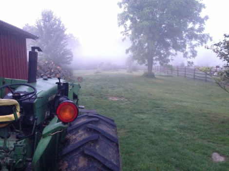tractor in fog